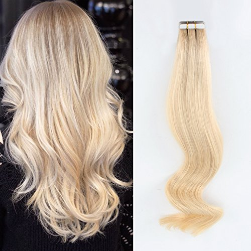 Dark Roots Blonde Invisible Tape Hair Extensions - AmazingBeauty Pre Taped Double Sided Remy Hair Skin Weft, 20 Pieces, 50 Grams, Platinum Ash Blonde with Dark Dirty Blonde Base Color R12-60, 18 Inch Ash Blonde Base