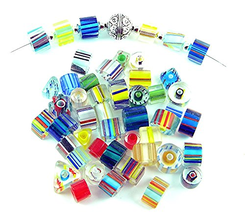 Furnace Glass Cane (1/4 Pound of Gorgeous Furnace Cane Glass Mix Beads for Jewelry Making TVT-CN-Mix)