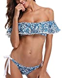 Tempt Me Women Two Pieces Clear Sexy Floral Print Crop Ruffled Off-Shoulder Bikini Blue S