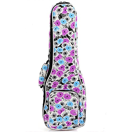 HOT SEAL Waterproof 12MM Thick Flowers Print Durable Ukulele Case Bag with Independent Storage Pocket (21in, Ink flowers) (Best Portable Humidifier Canada)