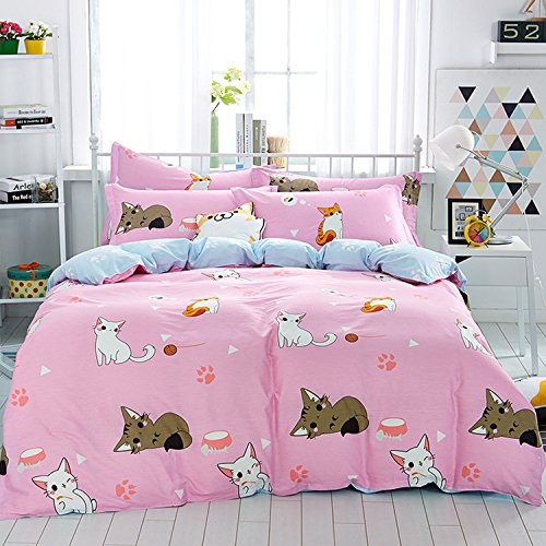 Mumgo Home Bedding for Adult Kids 100% Cotton Lovely Cat Pattern Design Duvet Cover Set Pink Full/Queen Size 4 Piece without Comforter by WarmGo