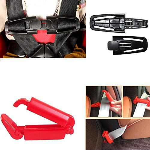 - Baby Car Seat Belt Clip Lock and Chest Harness Clip Buckle for Kids Child Safety Pack of 2 Black, Red