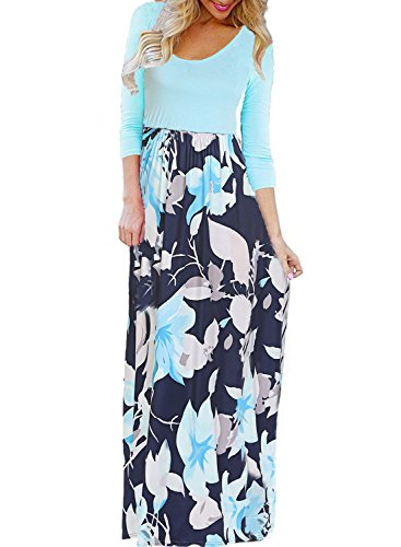 BLUETIME Women's Casual Plus Size Dresses 3/4 Sleeve Empire Waist Floral Maxi Dress (T-Green, XXXL)