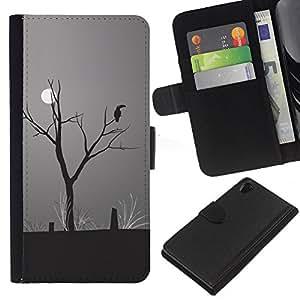 - RAINFOREST CLIMATE MOON CHANGE DRAWING ART PARROT - - Prima caja de la PU billetera de cuero con ranuras para tarjetas, efectivo desmontable correa para l Funny House FOR Sony Xperia Z2 D6502