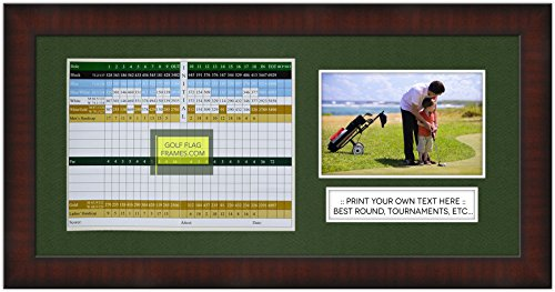 Golf Flag Frames 8x17 Brown Golf Scorecard Picture Frame, Moulding brn-002, Green Mat (holds up to 6x8 card and 4x6 or 5x7 photo); card and photo not included