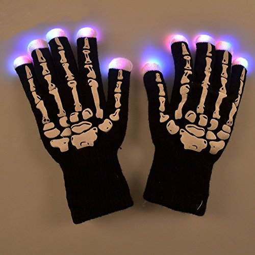 LOHOME® Novelty LED 7 Colors Gloves Party Light Show Gloves Lightshow Dancing Gloves for Clubbing, Rave, Birthday, EDM, Disco, and Dubstep (Dubstep Light Show Halloween)