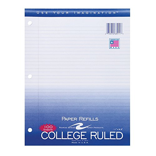 Case of 48 Packs of Looseleaf Filler Paper, 8.5''x11'', 100 Sheets of Smooth Medium Weight 15# White Paper, 3-Hole Punched, College Ruled W/ Margin by Roaring Spring (Image #1)