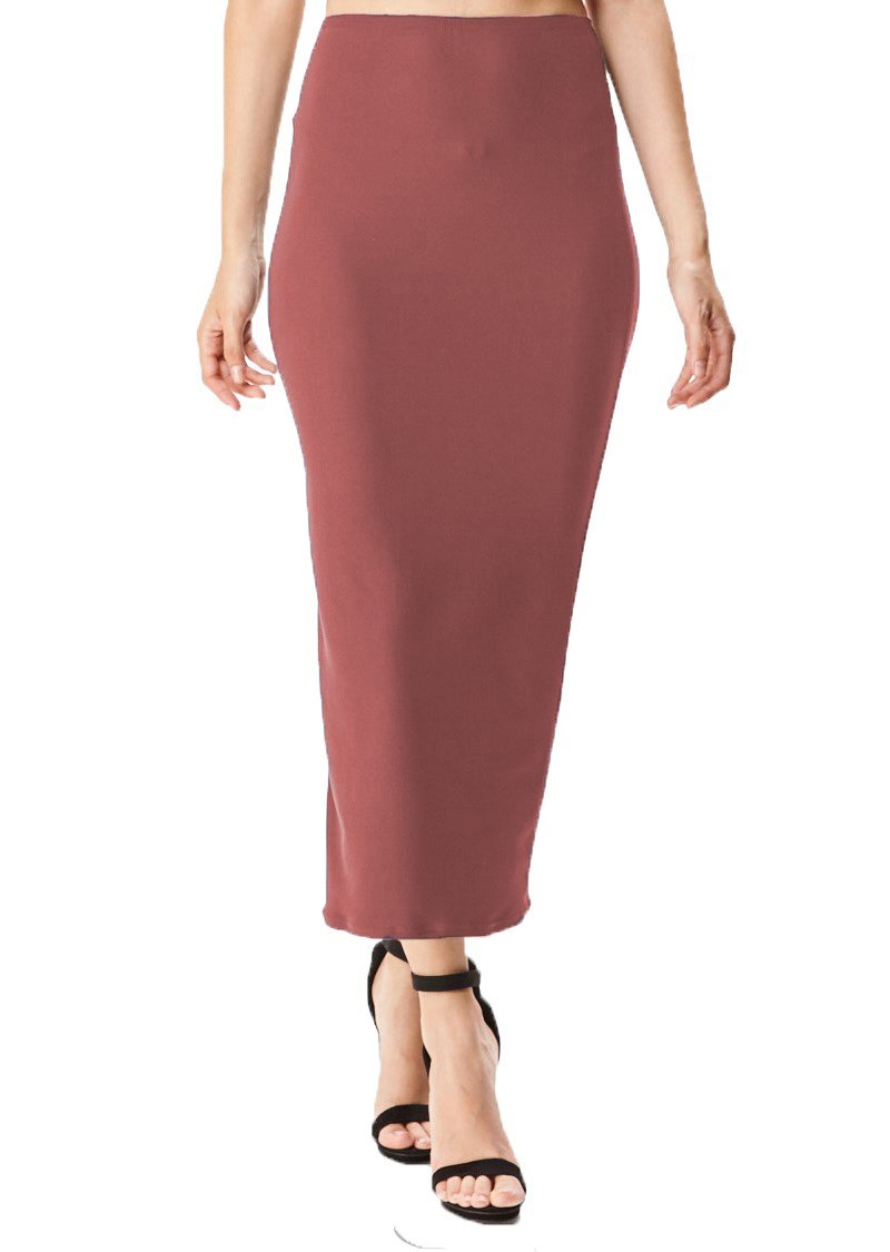 MoDDeals Women's Midi Long Pencil Skirt Summer Solid & Floral Maxi Casual Office & Dressy Bodycon (X-Large, Mauve Brushed Stretchy)