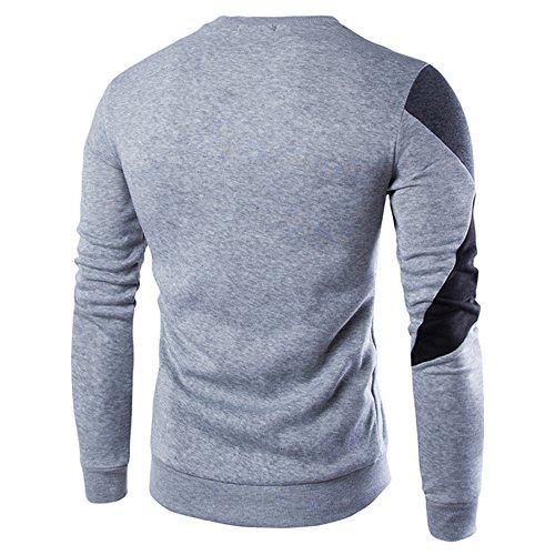Bozevon Splicing Sweatshirt Slim Lunga Leggero Manica Colore Uomo Grigio Pullover Casuale Con Felpa FwAqBrF