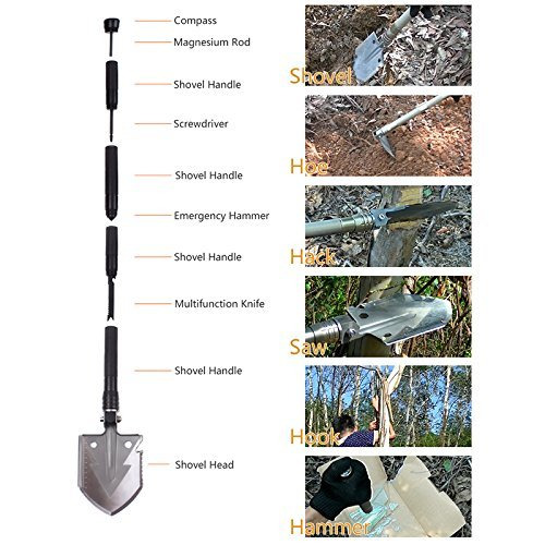 SLFC Military Folding Shovel Portable Multitool Tactical Entrenching Tool for Camping,Compass Backpacking Outdoor Hiking Garden Snow Heavy Duty Emergency Survival Gear Sports & Outdoors(Golden)
