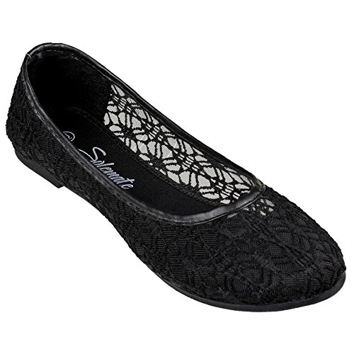 Flats Ballet Comfy (Women's Cute Lace Crochet Ballet Flat Comfy Slip On Loafers Ballerina Shoes (8, Black))