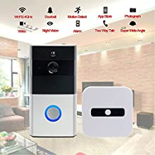 Wifi Wireless Video Doorbell, Built-in 8G 720P HD Smart Doorbell with Video Doorbell Monitor with Chime, Infrared Night Vision, PIR Motion Detection Alerts, Two-Way Talk and Video for iOS /Android