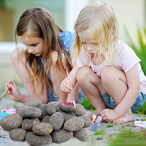 BigOtters Painting Rocks, 20 Rocks for Painting Kindness Rocks Range from About 2 to 3 inches, About 3.7 pounds of Rocks(Dark Gray)