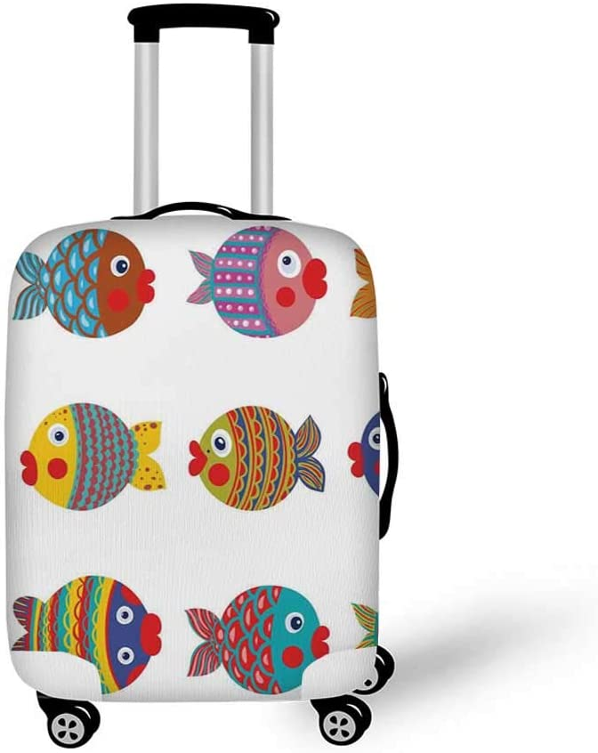 Funny Stylish Luggage Cover,Shakespeare Portrait with Speech Bubbles and Social Media Citation Illustration for Luggage,L 26.3W x 30.7H