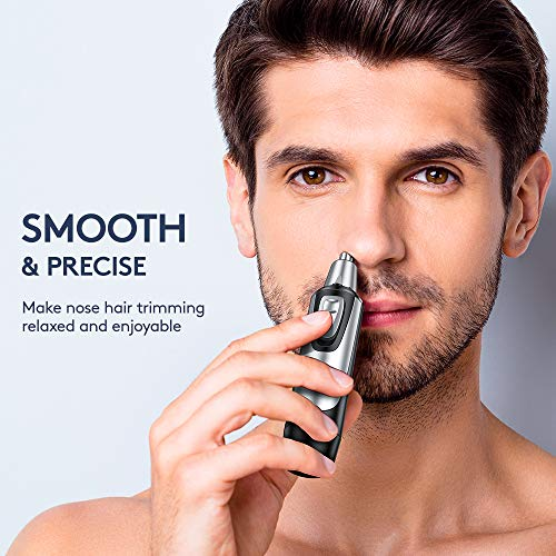 NOOA Nose Trimmer and Ear Hair Trimmer for Men and Women, Professional Painless Nose Hair Remover, Electric Waterproof Mens Nose Clippers with Rotary Stainless Steel Dual Edge Blades