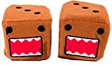 "Cool & Custom {3"" Inch w/ String} Single Pair of ""Fuzzy, Furry & Fluffy Plush Dice"" Rear View Mirror Hanging Ornament Decoration w/ Domo Kun Cartoon Monster Design [Sonota Brown, Red and Black Color]"