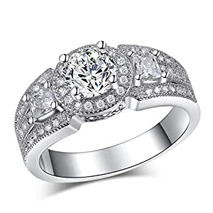 Gorgeous Rhodium Plated Engagement Ring, High Quality Cubic Zirconia