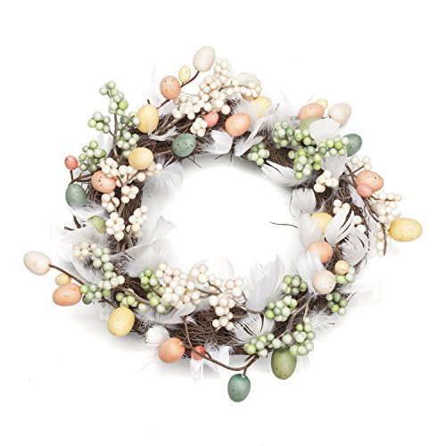(LTWHOME WHECE 11 Inch Artificial Handmade Easter Wreath with Feathers, Berries, Quail Eggs and Small Bubbles for Front Door, Wall, Mantelpiece, Window)