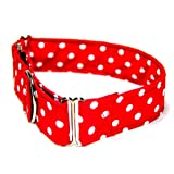 Made-in-USA 1.5 Inch Wide Premium Martingale Collar – Red White Polka Dots – X-Large, My Pet Supplies
