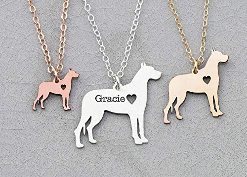 - Great Dane Dog Necklace - IBD - Cropped Ears - Personalize with Name or Date - Choose Chain Length - Pendant Size Options - 935 Sterling Silver 14K Rose Gold Filled Charm - Ships in 1 Business Day