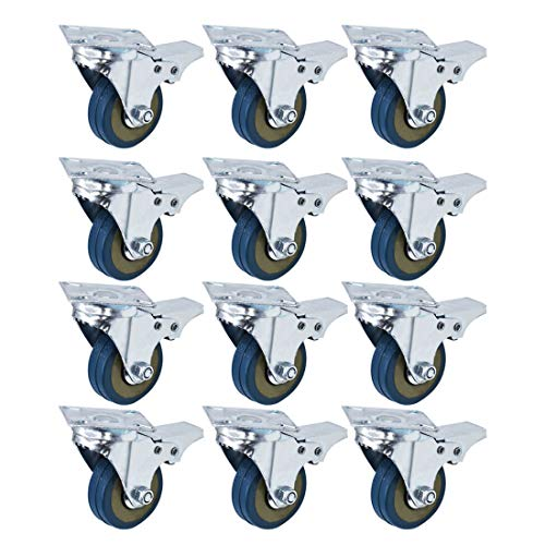 12 pack 2 Inch Swivel Total Lock Brake Polyurethane Plate Caster