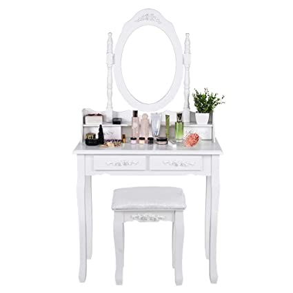 Amazon.com : ChainSee Makeup Dressing Table with Oval Mirror ...