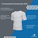 CompressionZ Men's Short Sleeve Compression Shirt - Athletic Base Layer White