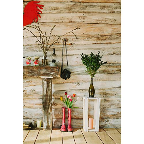 Laeacco Vinyl 6.5x8ft Rustic Wooden House Interior Background Valentine's Day Backdrops Colorful Rain Boots Tulip Camera Oil Lamp Willow Branches Grunge Wood Texture Wall Floor Lovers Couple Portrait