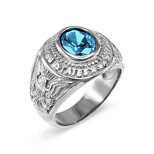 March CZ Birthstone US Army Men's Ring in Solid 925 Sterling Silver (Size 9)