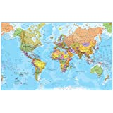 World MegaMap 1:20 Wall Map, Laminated Educational Poster Collections Laminated Poster Print, 77x47