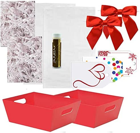 Pursito Gift Basket Making Kit 7 x 5 x 3 Includes: Red Market Tray Crinkle Cut Paper Cellophane Bag Red Satin Bow & Gift Tags - 2 Total Sets Birthday Anniversary & Graduation