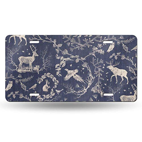 - Sukuraceci Winter Toile Navy Background Aluminum License Plate,Front License Plate,Vanity Tag,Wall Decor Car Vehicle