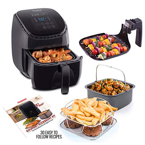 Cheap NUWAVE BRIO 3-Quart Digital Air Fryer cooking package with one-touch digital controls, 6 easy presets, precise temperature control, recipe book, wattage control, and advanced functions like PREHEAT, REHEAT and more, also includes grill pan, non-stick baking pan and stainless-steel cooking rack (3-Quart + Ultimate Kit)