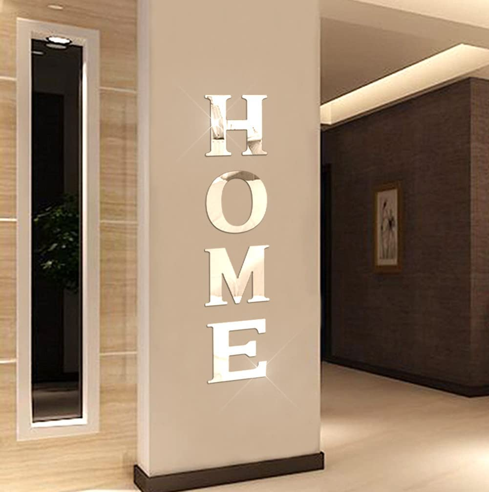 Home Sign Letters Family Farmhouse Wall Stickers Acrylic Decorative Mirror Wall Decor for Living Room Bedroom the Home Modern Decorations