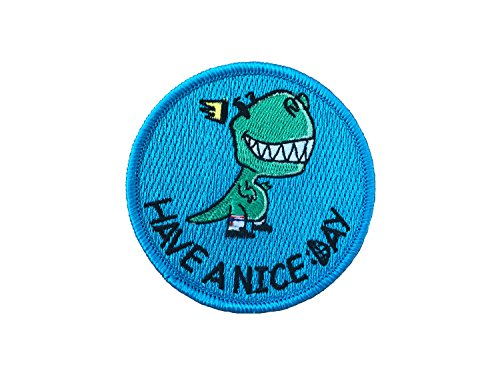 Vinpatch Have a Nice Day Embroidered Sew On/Iron on Patch - Personalized Travel Patches Designed for Shirts Jackets Jeans and Backpacks - Patch Size 3''x3'' (Patch Jovi Bon)