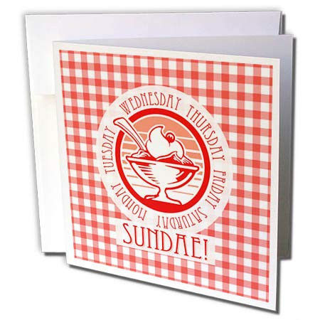 (3dRose Russ Billington Designs - Light Hearted Ice Cream Sundae Design in Red and White Gingham - 1 Greeting Card with Envelope (gc_293797_5))