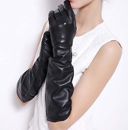 Women's Super Long Elbow Gloves Lambskin Leather Lined Full Finger Dress/Opera Gloves Party Locomotive Warm Mittens Autumn And Winter New ( Color : Black , Size : S (Lined Lamb Dress Glove)