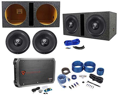 (2) Rockville W12K6D4 V2 12″ 4800w Subwoofers+Vented Box+Mono Amplifier+Amp Kit