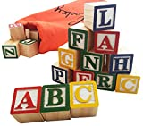 Skoolzy 30 Wood Alphabet Blocks - Stacking ABC Letter...
