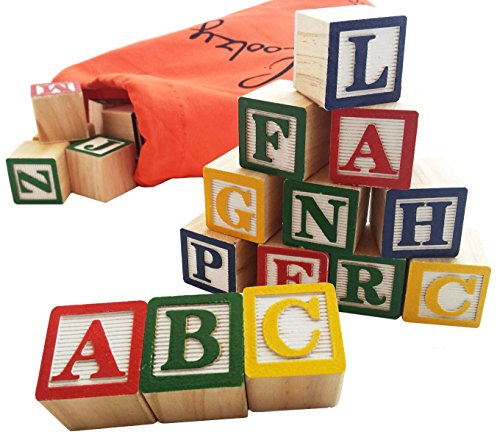 (Skoolzy 30 Wood Alphabet Blocks - Stacking ABC Letter Colors Wooden Blocks for Toddlers - Montessori Occupational Therapy Building Toys - Preschool Learning Toys Kindergarten Reading with Travel Tote)