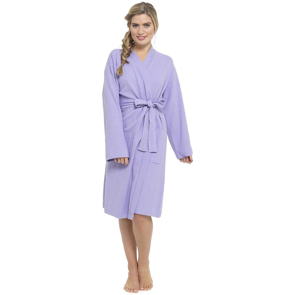 4a5a7ad15be Ladies Women 100% Cotton Soft Waffle Dressing Gown Robe Wrap Kimono S M L   Amazon.co.uk  Clothing