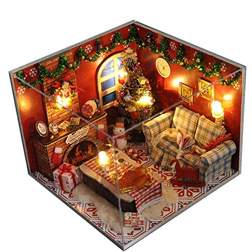 Flever Dollhouse Miniature DIY House Kit Creative Room with Furniture and Glass Cover for Romantic Artwork Gift(Christmas Eve) (Christmas Dolls House)
