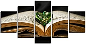SCJS Print Painting Canvas 5 Pieces Canvas Wall Art Holy Book Allah Religious Scripture Pendant Painting for Home Living Room Office Mordern Decoration Gift Home Decorations