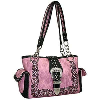 Western Rhinestone Studded Bling Buckle Floral Embroidered Handbag Purse Matching Wallet