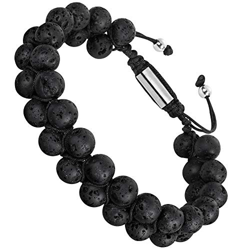 Depot Tresor Men's Bracelet Adjustable - Diffuser Bracelet Lava Rock Essential Oil Bracelet for Men's Gift (Black)
