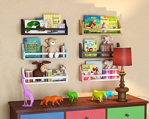 brightmaison 1 Black Molding Design Children's Wall Shelf Birch Wood 20 Inch Multi-use Bookcase Toy Game Storage Display Organizer Ships Fully Assembled by brightmaison (Image #2)