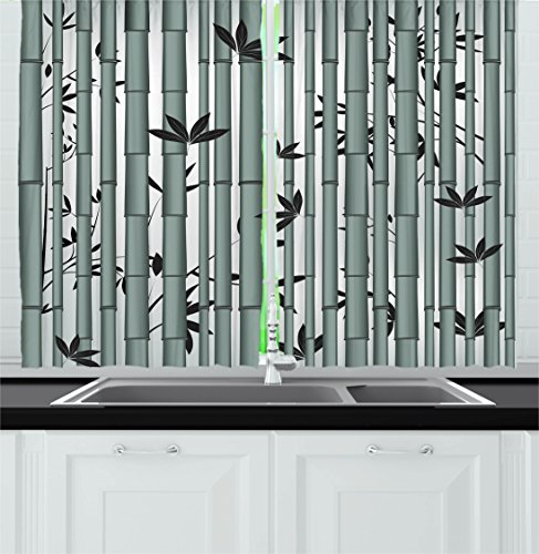 Ambesonne Nature Kitchen Curtains, Asian Tree Flower Wildlife Panda Food Bamboo with Leaf and Branches Print, Window Drapes 2 Panels Set for Kitchen Cafe, 55W X 39L Inches, Bluegrey and (Novelty Kitchen Accessories)