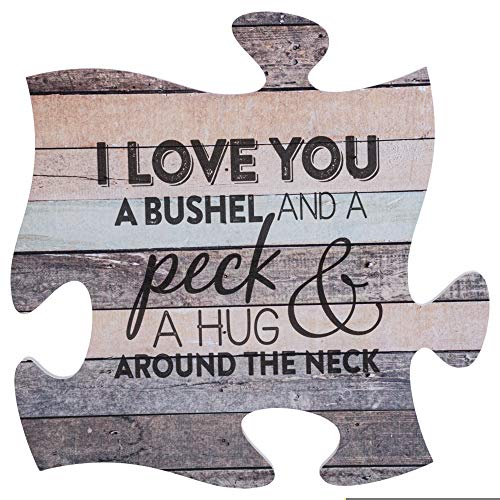 P. Graham Dunn I Love You a Bushel and a Peck Wood Look 12 x 12 inch Wood Puzzle Piece Wall Sign Plaque (Want To Be More Than Friends Poems)