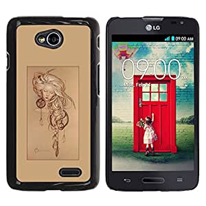 For LG Optimus L70 / LS620 / D325 / MS323 Case , Dream Catcher Poster Girl Sleep - Diseño Patrón Teléfono Caso Cubierta Case Bumper Duro Protección Case Cover Funda