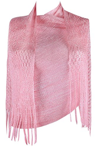 Weddings Evening Scarves for Women Summer Shawls and Wraps Fringed Pink Scarf (1920 Hairstyles For Long Hair)